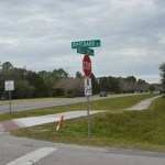 The intersection at Pritchard Drive and Belle Terre Parkway. The path from Buddy Taylor Middle School is heavily used by students on foot and on bikes. (© FlaglerLive)