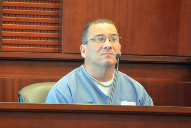 Michael Renaud, now 44, was 17 when he murdered Margaret Rogers at a house on Point Pleasant Drive in palm Coast in 1992. He was back in court, arguing for his early release. (© FlaglerLive)