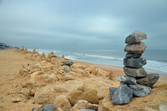New rock formations along A1A in Flagler Beach. (© FlaglerLive)