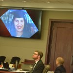 An image of Zuheily Roman Rosado the prosecution displayed during closing arguments in the case that ended with a guilty verdict for Joseph Bova, who sat between his two attorneys, Josh Mosley, left, and Matt Phillips, Monday in circuit court. (© FlaglerLive)