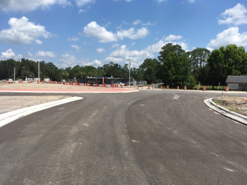 The roundabout at U.S. 1 and Old Dixie Highway today, deserted of workers, as it has been for nine weeks. Work is supposed to resume on July 8. (© FlaglerLive)