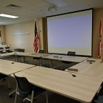 The Flagler County School Board in its workshop room, in a quieter moment. (© FlaglerLive)