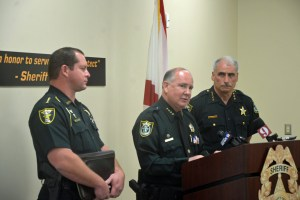 The three sheriffs: from left, DeLOach, Staly and Chitwood. Click on the image for larger view. (© FlaglerLive)