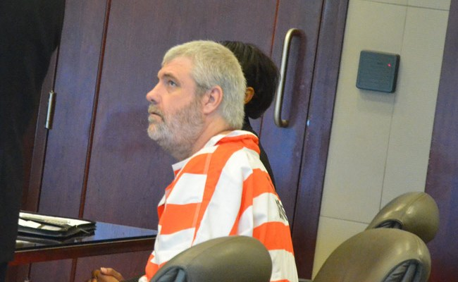 David Snelgrove in court in Bunnell today. (© FlaglerLive)