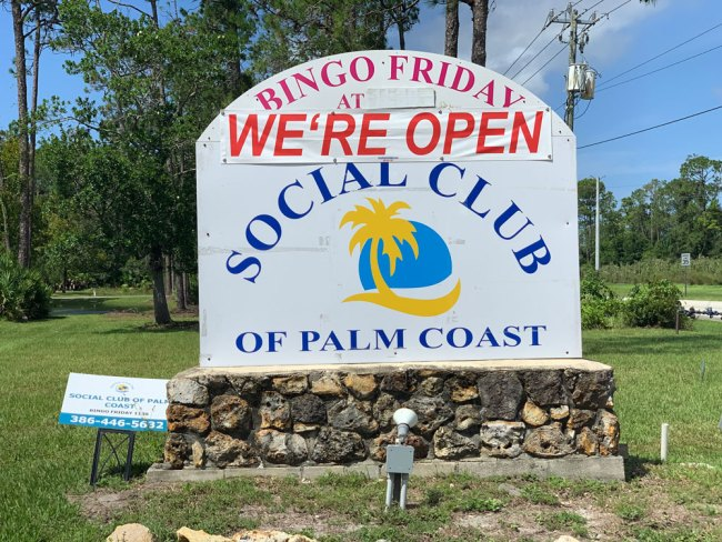 The Social Club of Palm Coast indicated today it was still open. It's closed until Sept. 28. (© FlaglerLive)