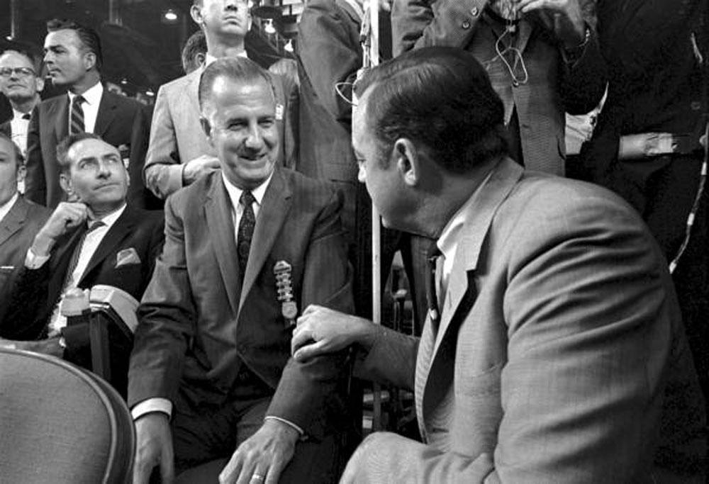 press anti media Spiro Agnew with Florida Gov. Claude Kirk in 1968. (Florida Memory)