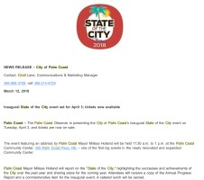 A portion of the release the city administration circulated, promoting ticket and sponsorship sales, and combining the city's logo--which the city considers a trademark, forbidding usage without permission--with the big O trademark of the Observer. Click on the image for larger view. (© FlaglerLive)