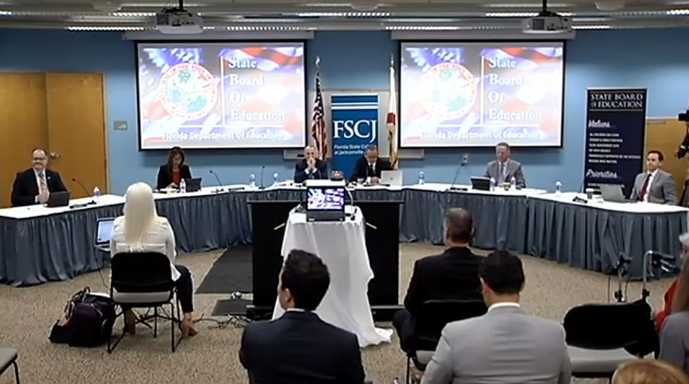 The state School Board meeting at Florida State College at Jacksonville today. (© FlaglerLive via Florida Channel)