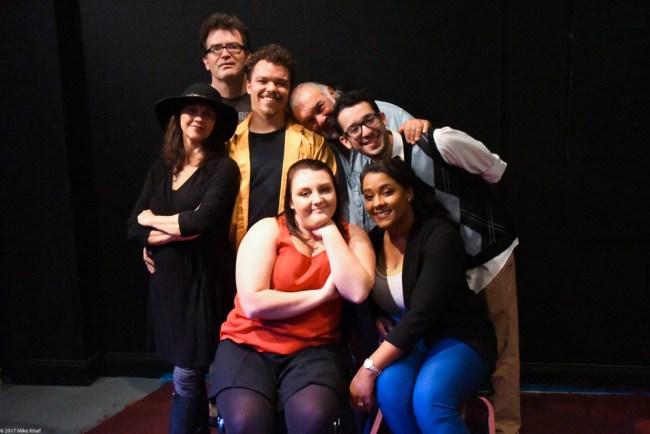 The [Title of Show] production:  left to right, Paul van de Graff, Beau Wade, John Sbordone, Frank Anello bottom. Leigh Ann Singleton, Caitlin Eriser, Phillipa Rose. (Mike Kitaif)