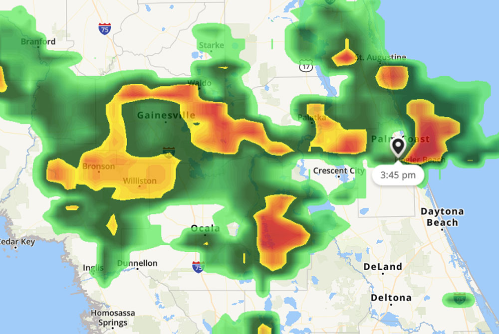 The tornado warning was issued at 3:45 p.m.