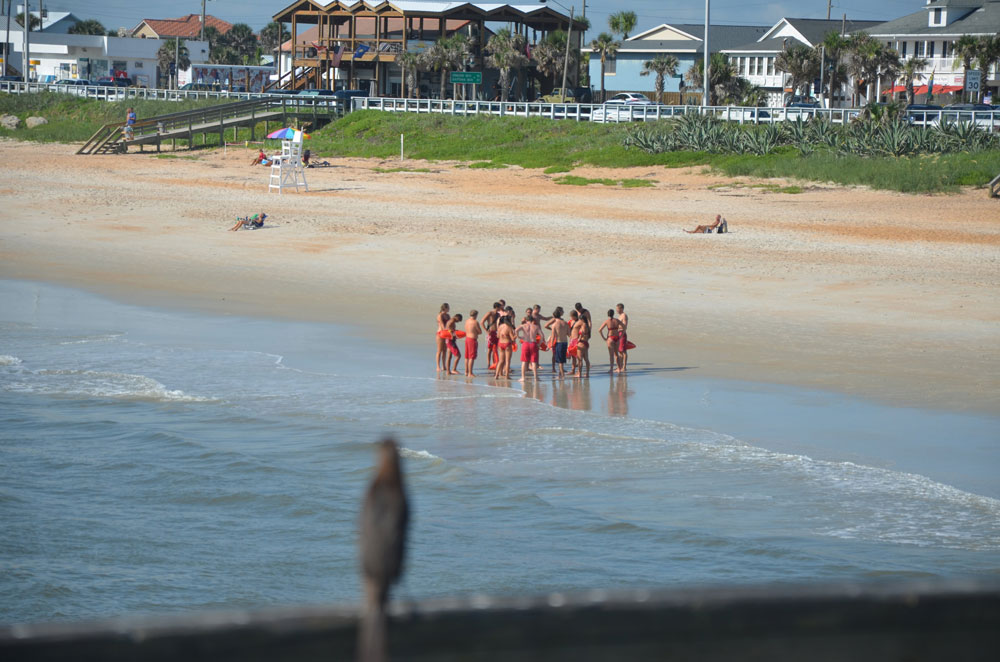 Lifeguards routinely train in Flagler Beach. The above is a file photo. (© FlaglerLive)