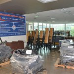 A common area at the University of Florida getting prepared for socially distanced dining. (© FlaglerLive)