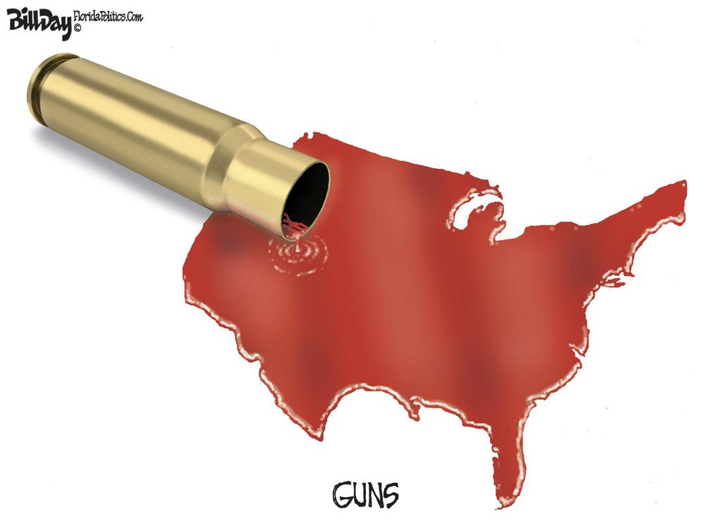 GUNS GALORE by Bill Day, FloridaPolitics.com/Caglecartoons.com
