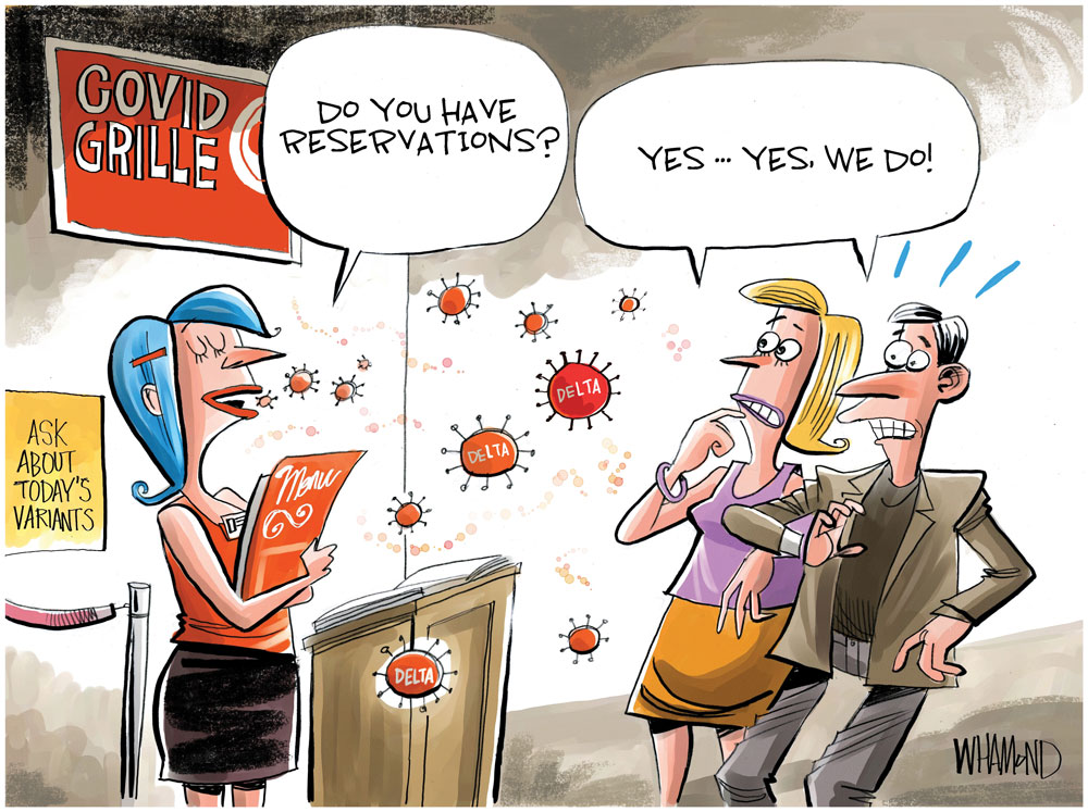 Delta variant surge by Dave Whamond, Canada, PoliticalCartoons.com