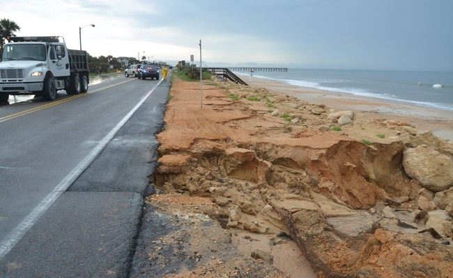 The latest washout from heavy rains in Flagler Beach closed a segment of A1A between South 11th and 13th streets this afternoon. (c FlaglerLive)