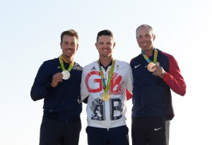 RIO DE JANEIRO, BRAZIL - AUGUST 14: (L-R) Henrik Stenson of Sweden, Justin Rose of Great Britain and Matt Kuchar of United States pose with their Olympic Medals after the final round of the Rio 2016 Olympic Games at the Olympic Golf Course on August 14, 2016 in Rio de Janeiro, Brazil. (Photo by Stan Badz/PGA TOUR/IGF)