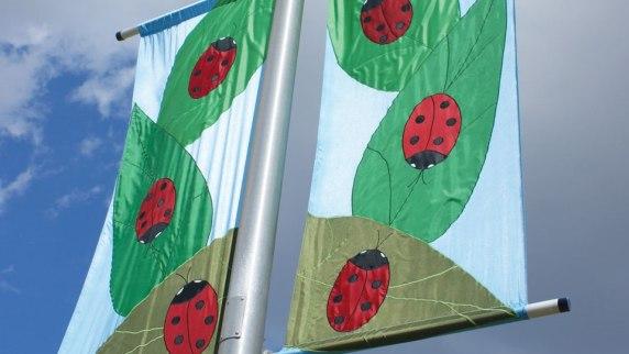 custom appliqued banner lady bug