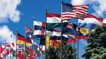 world flags on flag poles