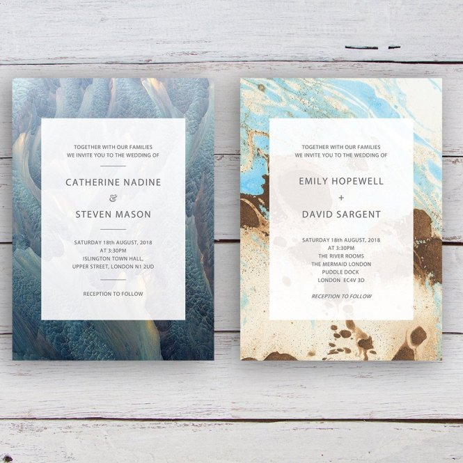 Bespoke Modern Coastal Inspired Wedding Invitations