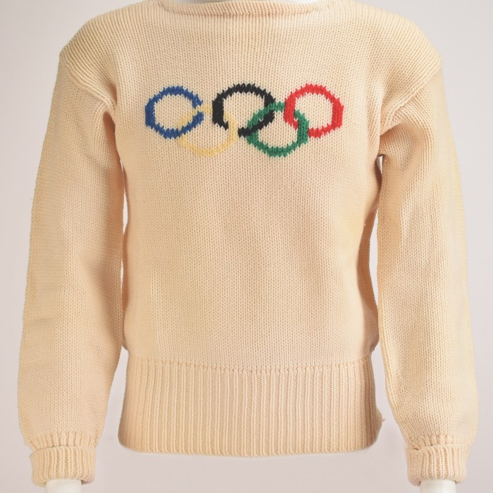 White sweater with Olympic Rings across the chest. Photo courtesy of RR Auction.