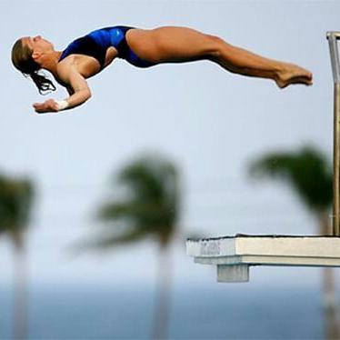 Olympic gold medalist Laura Wilkinson dives off of the 10m platform. Photo courtesy of Laura Wilkinson.