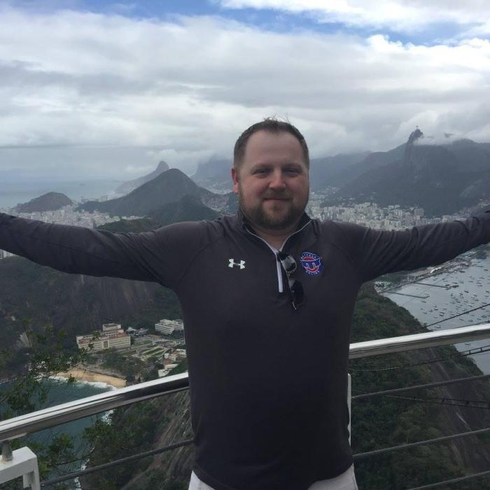 The dulcet tones of Olympic wrestling announcer Jason Bryant overlooking the city of Rio de Janeiro, host city of the 2016 Olympics.