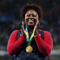 3x Olympic shot putter Michelle Carter receives the gold medal at the Rio 2016 Olympics.