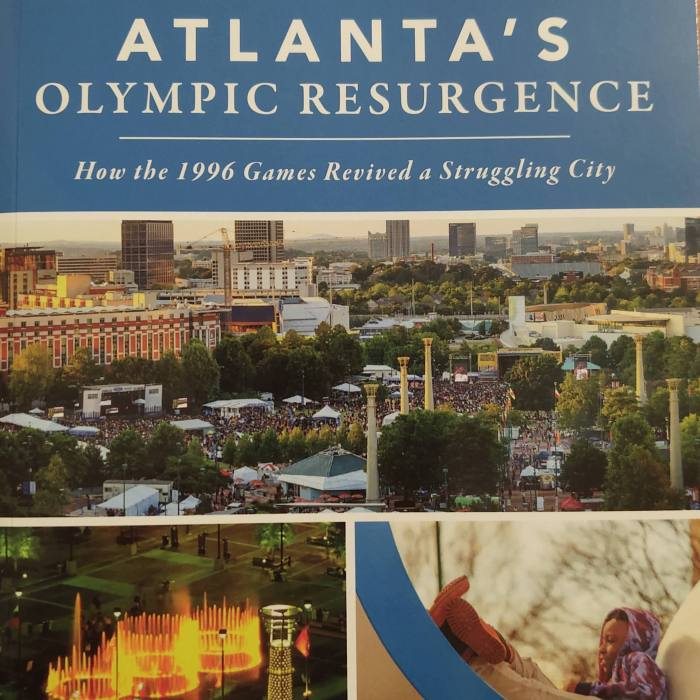 """The book """"Atlanta's Olympic Resurgence: How the 1996 Games Revived a Struggling City"""" by Michael Dobbins, Leon S. Eplan and Randal Roark."""