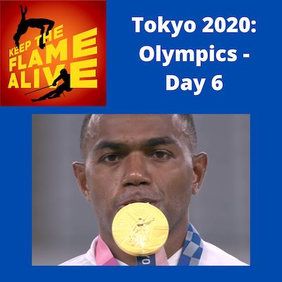 Keep the Flame Alive poodcast - Tokyo 2020 Olympics Day 6 - picture of Fijian rugby player with an Olympic medal in his mouth.