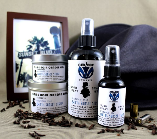 8411 1/2 Sunset Strip - Lew Archer inspired handmade soy wax candle + room spray set - Flame Noir Candle Co