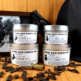 LA Noir - Cahuenga 615 + 8411 1/2 Sunset Strip - Philip Marlowe + Lew Archer inspired set of two all natural soy wax candles - Flame Noir Candle Co