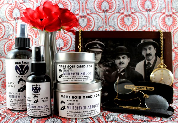 Whitehaven Mansions - Hercule Poirot inspired handmade all natural soy wax candle + room spray set - Flame Noir Candle Co