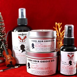 Holmes for the Holidays - Sherlock Holmes inspired all natural soy wax candle + room spray set - Flame Noir Candle Co