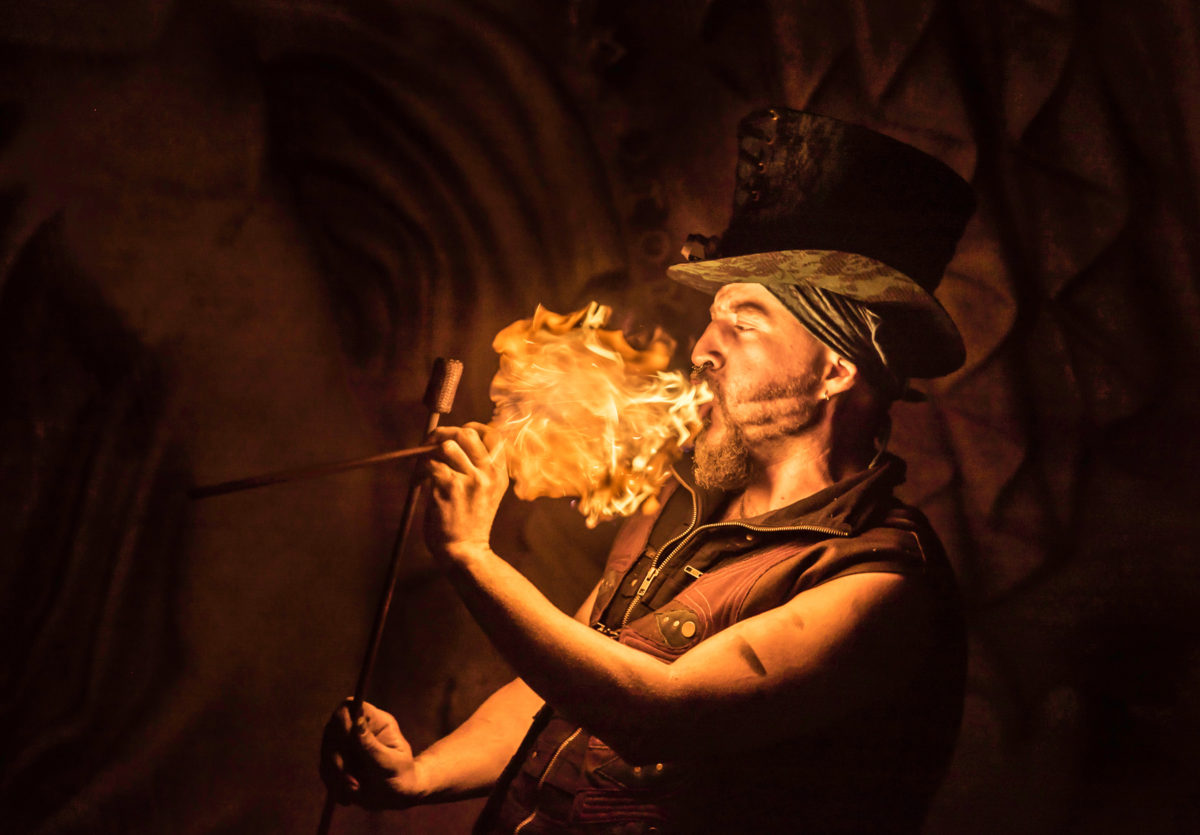 Fire Eating Performer Shade Flamewater Circus