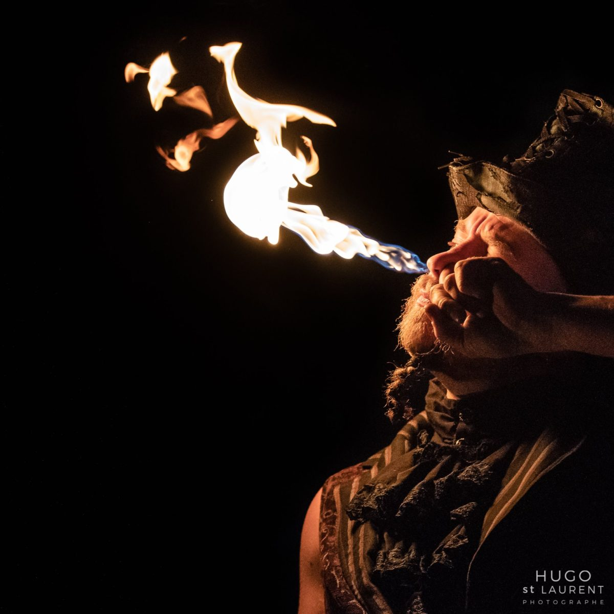 Shade Flamewater Steampunk Fire Magician TriFlow Festival Montreal Fire Eater