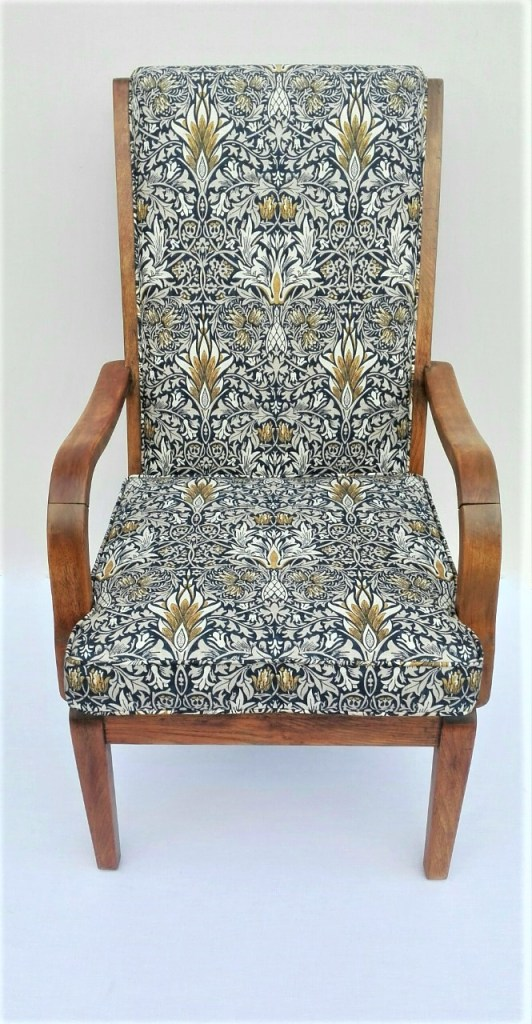re-upholstered vintage Oak chair in Morris & Co Snakeshead fabric