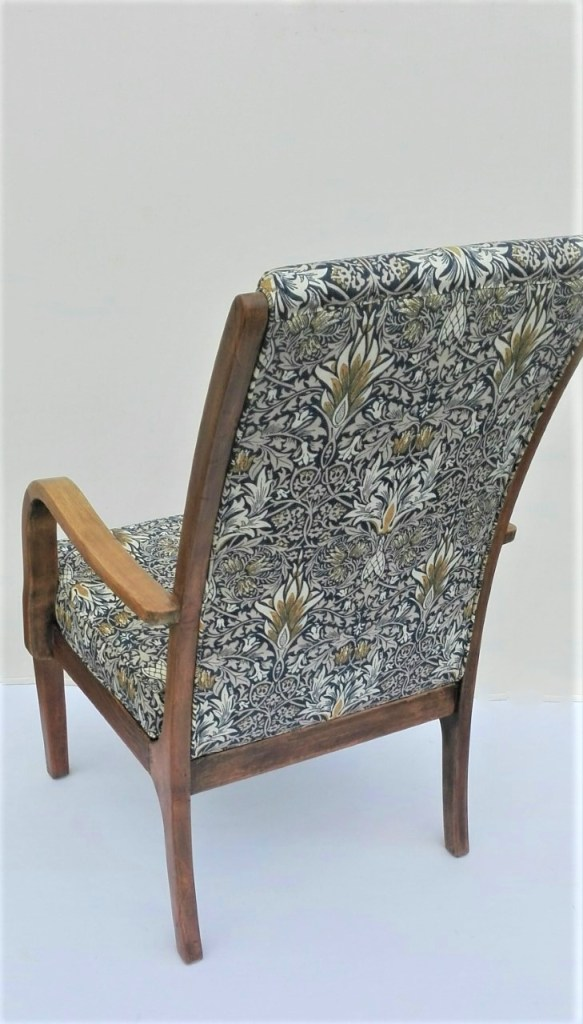 upholstered oak chair in Morris & Co fabric