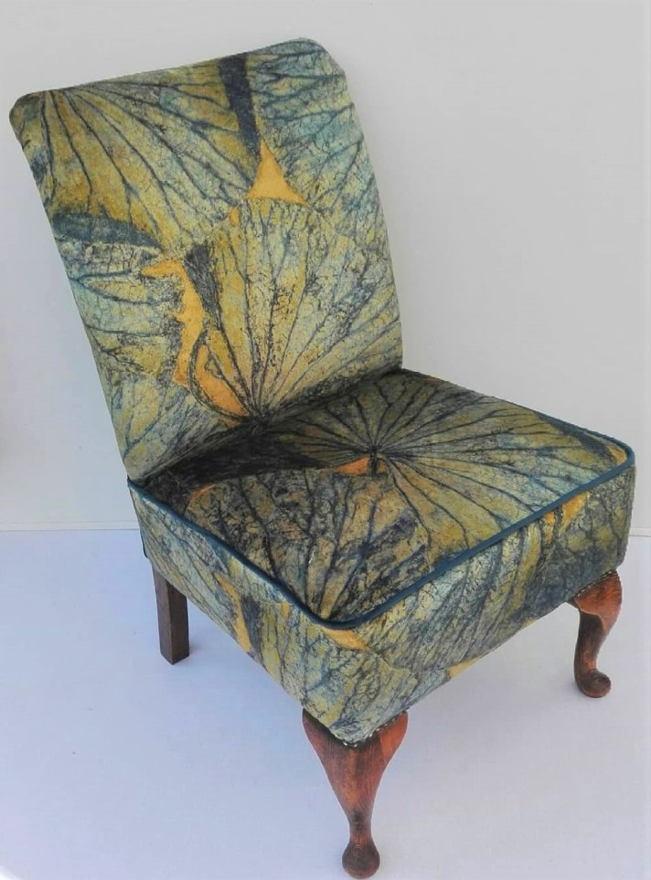 bedroom chair with Zoffany velvet