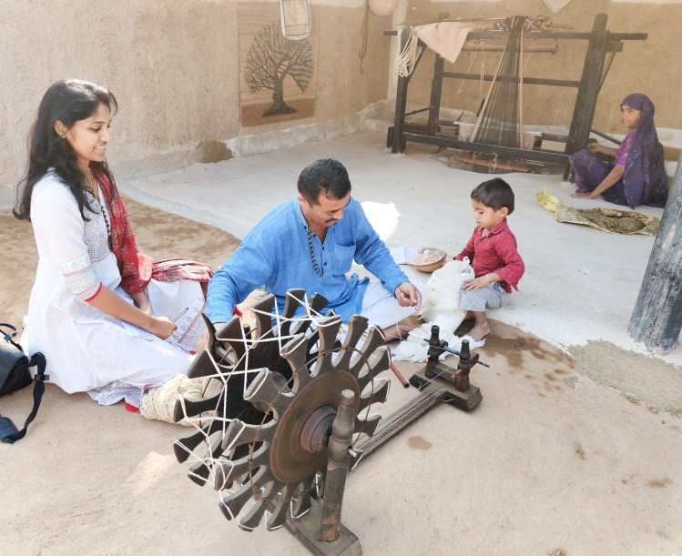 Learning spinning at the bhujodi crafts village kutch