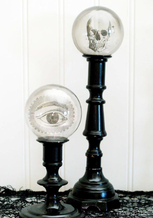 DIY Spooky Crystal Ball Halloween Candlesticks tutorial featured by top US craft blog, Flamingo Toes: Creepy Candlesticks