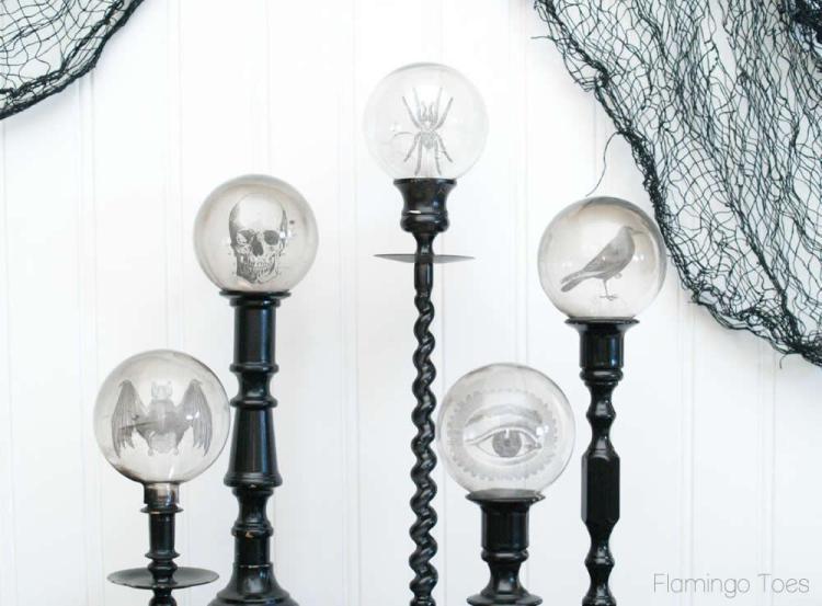 DIY Spooky Crystal Ball Halloween Candlesticks tutorial featured by top US craft blog, Flamingo Toes: Halloween Crystal Balls