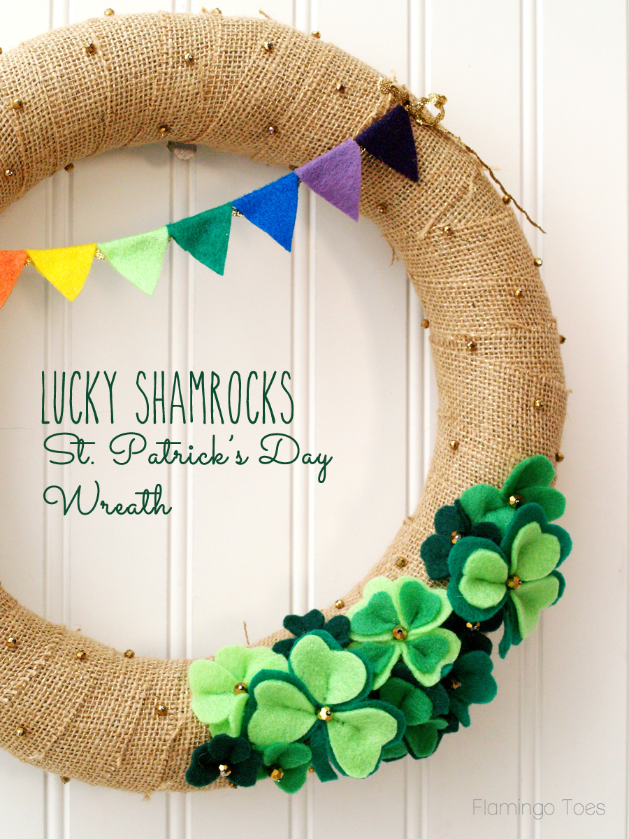 幸运的三叶草圣帕特里克节花环|轻松的圣帕特里克节装饰|缝纫项目|精选