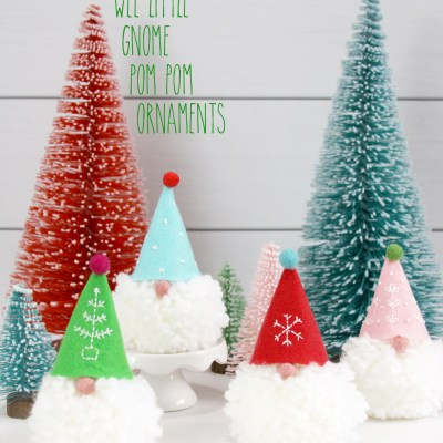 Wee Little Gnome Pom Pom Ornaments
