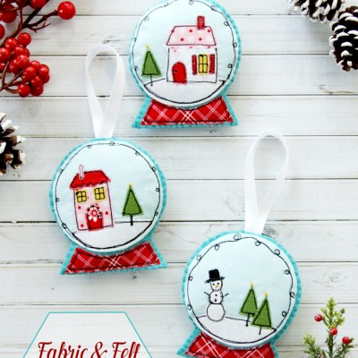 Fabric and Felt Snowglobe Ornaments
