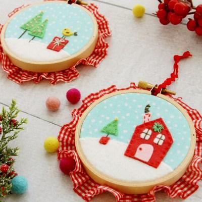 Sweet Fabric and Felt Hoop Ornaments