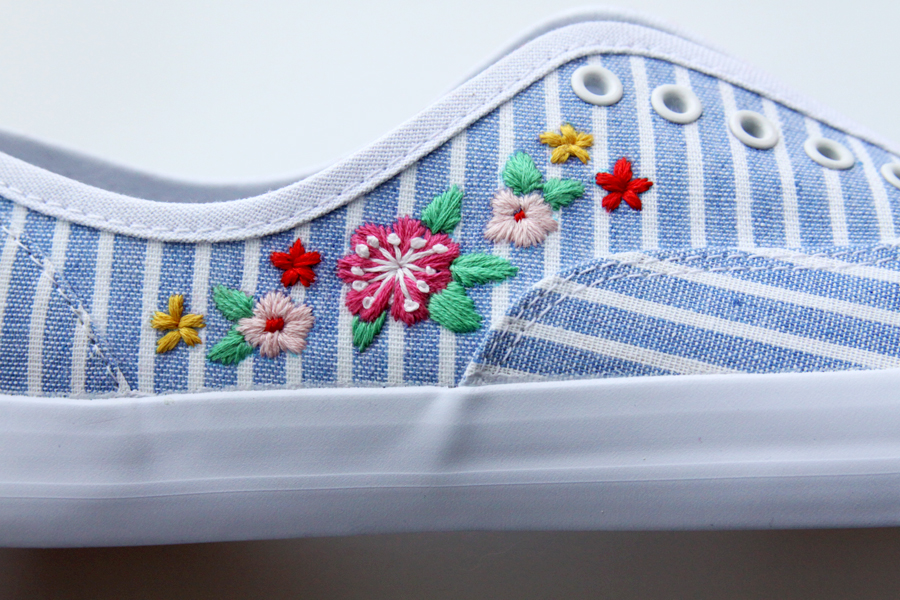 DIY Floral Embroidered Shoes