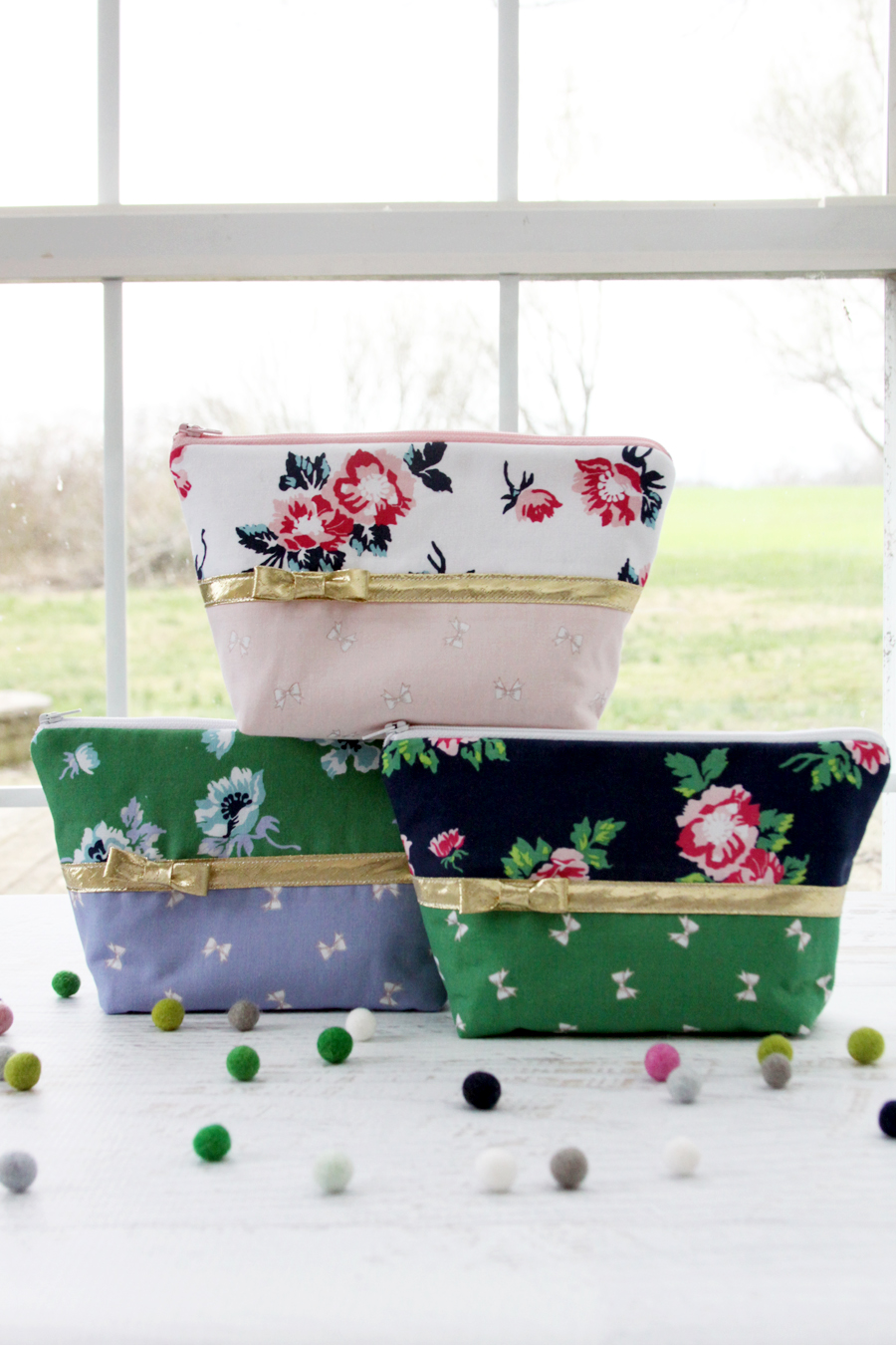 Florals and Bows Zipper Pouches in Derby Day Fabrics