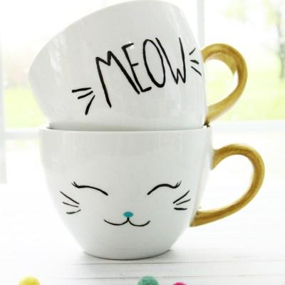 DIY Cat Mugs Dishwasher Safe