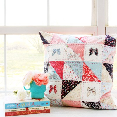 Half Square Triangle Patchwork Pillow