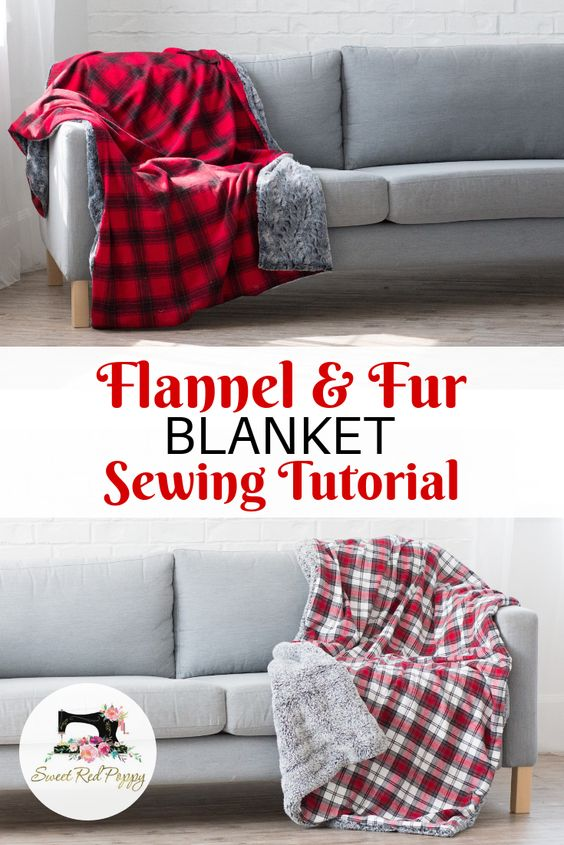Flannel Sewing Projects featured by top US sewing blog, Flamingo Toes: flannel fur throw